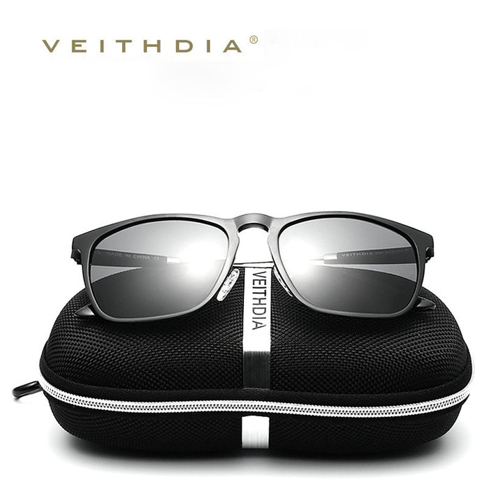 VEITHDIA Mens Square Retro Aluminum Sunglasses Polarized Blue Lens Vintage Eyewear Accessories Sun Glasses For Men/Women 6368