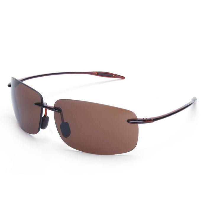 Vazrobe (10g) TR90 Rimless Nylon lens anti explosion Sunglasses for Men Driving Sun Glasses Anti polar UV400 brown black male
