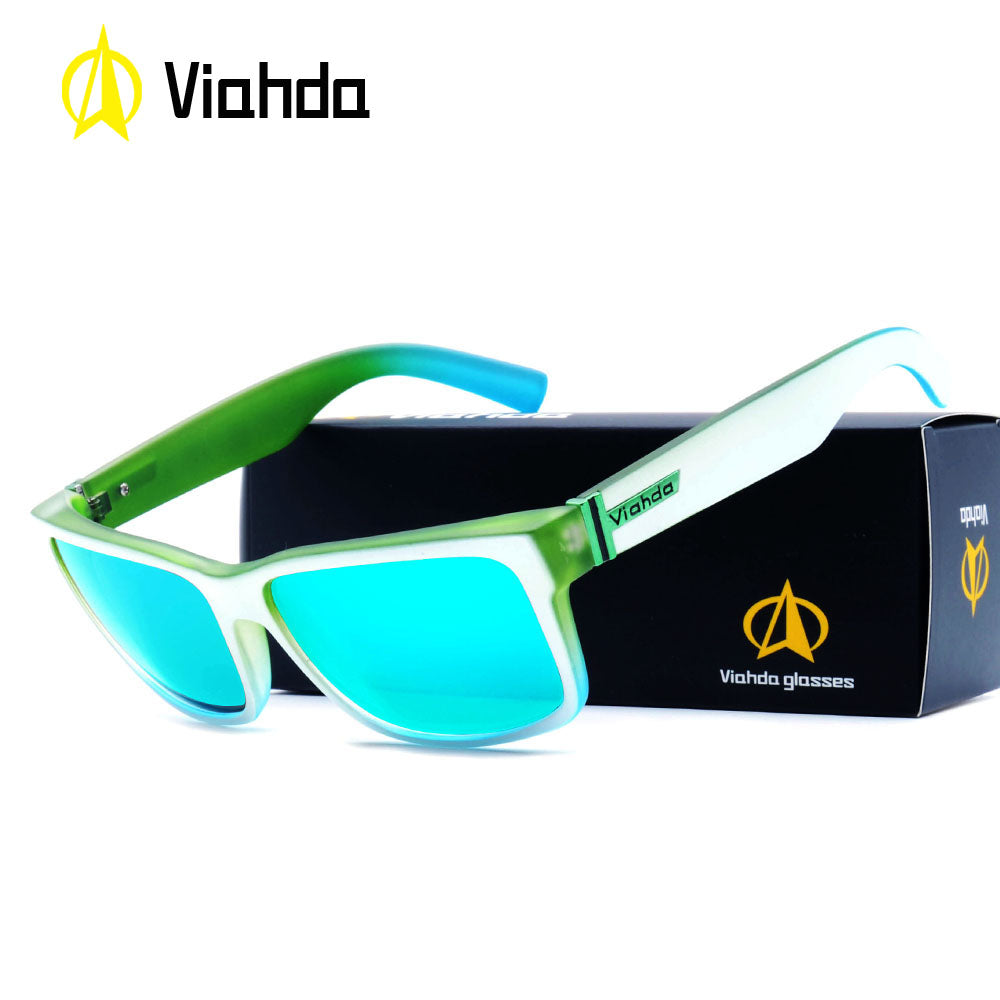 Viahda new Fashion Unisex Square Vintage Sunglasses Driving Mirrors Coating Points Black Frame Eyewear Male UV400 Sun Glasses