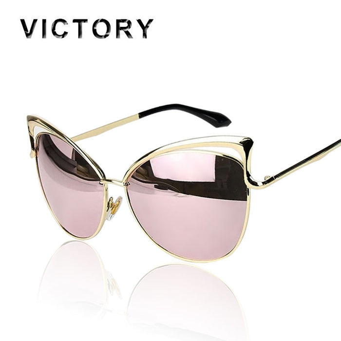 VictoryLip Fashion Cat Eye Rose Gold Mirror Sunglasses Women Brand Designer Metal Frame Lady Sun Glasses Cateye Female