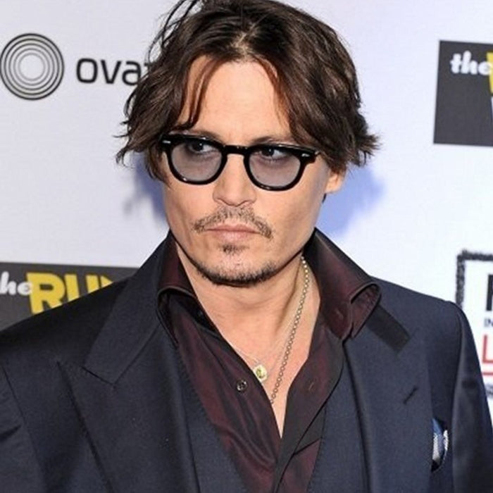 cf2c59ad7f Vintage Clear Tinted Lens Johnny Depp Glasses Frame Retro Male Sunglasses  Men Luxury Brand Sun Glasses
