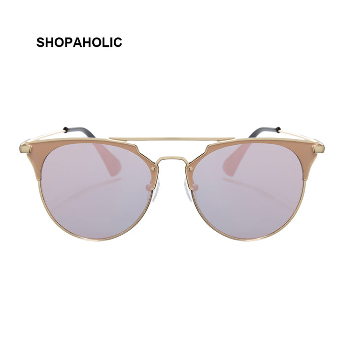 Vintage Rose Gold Cat Eye Sunglasses Women Brand Designer Retro Sun Glasses for Women Mirror Lady Female Oculos De Sol Feminina