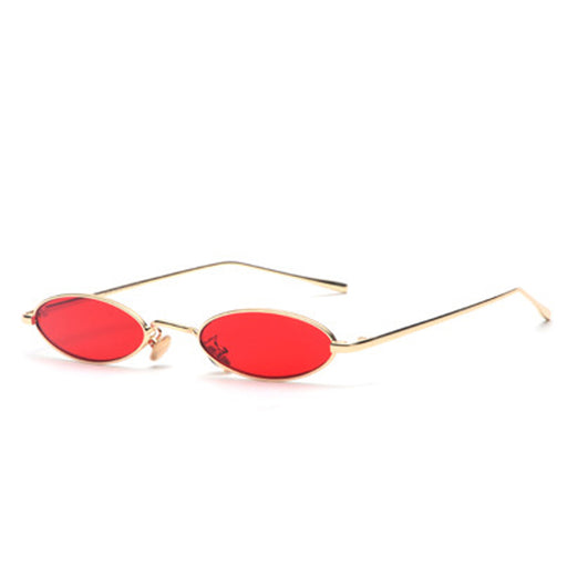 Vintage Small Oval Sunglasses Fashion Brand Women Men Metal Frame Clear Pink Lens Shades Sun Glasses Eyewear UV400 Sunglass