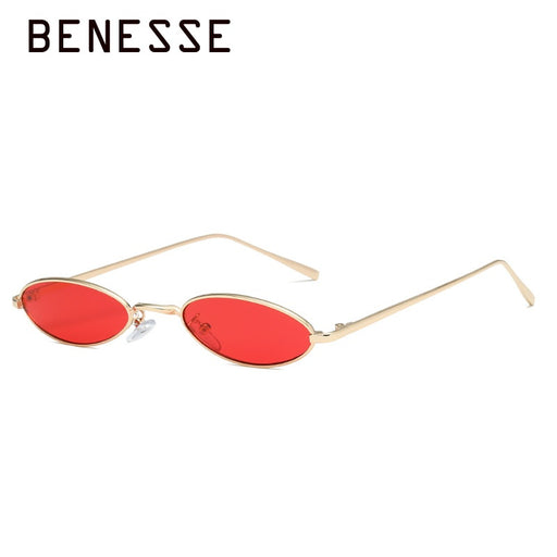 Vintage Small Oval Sunglasses Women Retro Brand Skinny Metal Frame Summer Sunnies Men Sun Glasses Red Gold Yellow Lens Eyewear