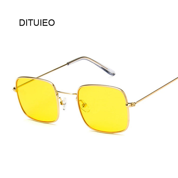 Vintage Small Square Sunglasses Women Red Yellow Clear Lens Sun Glasses Lady Retro Sunglasses Female Ocean Eyewear Oculos De Sol