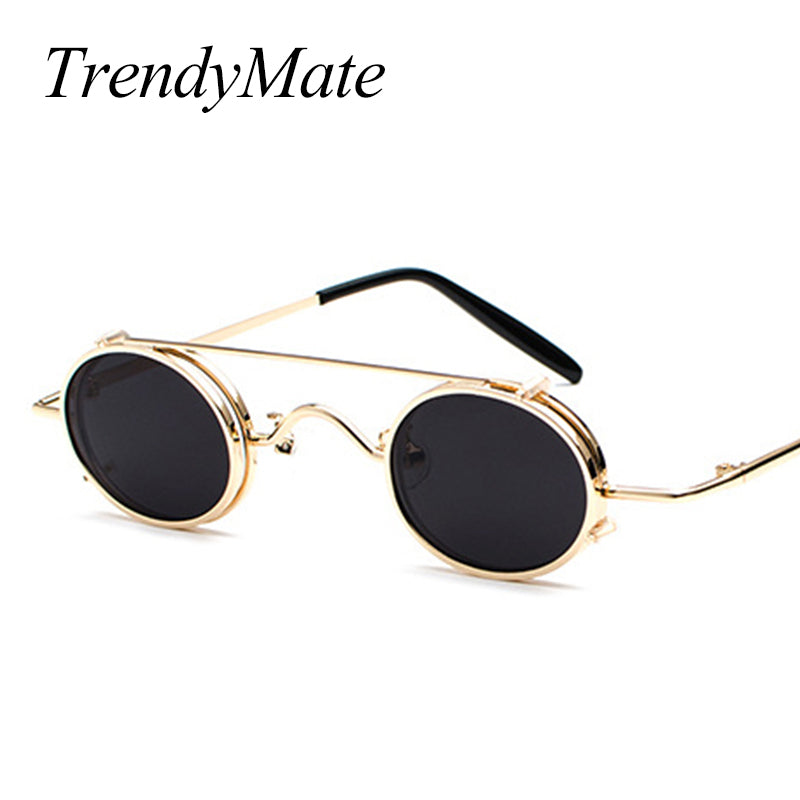 Vintage Small Steampunk Goggles Oval Sunglasses Women Men Retro Gothic Sun Glasses Gold Frame Eyewear Black Punk Oculos 1304T