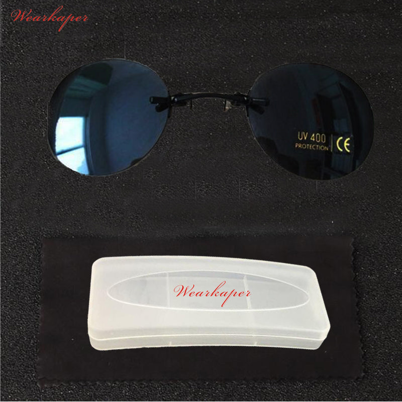 WEARKAPER Matrix Morpheus Style Round Rimsless Sunglasses Men Brand Design Clamp Nose Sun Glasses Oculos De Sol