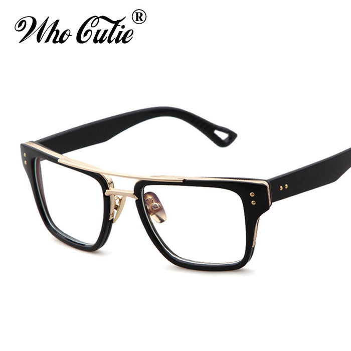 WHO CUTIE Vintage Square Sunglasses Men Women Brand Designer Retro Frame Male Female Clear lens Sun Glasses Shades OM416