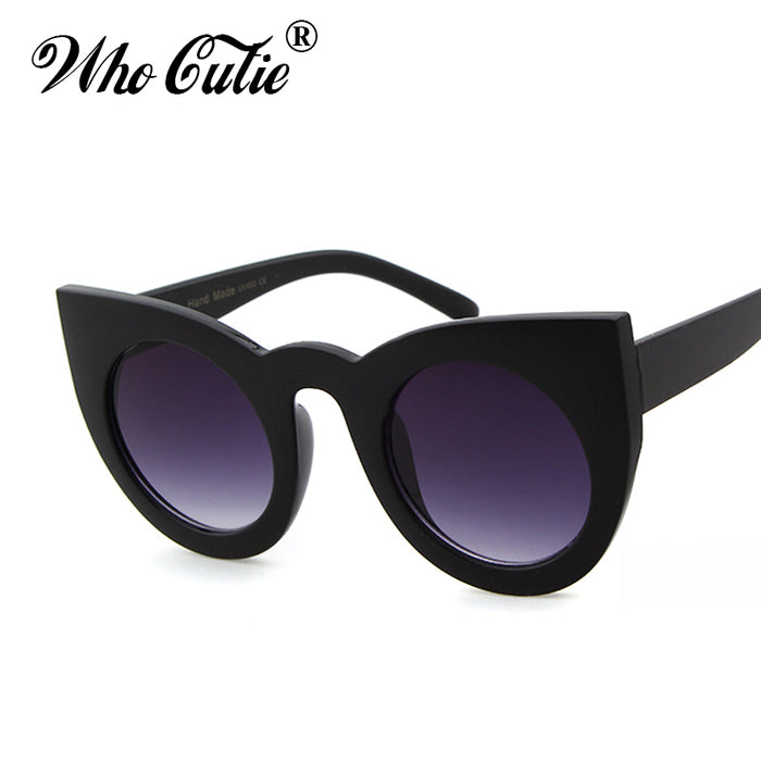 WHO CUTIE Round Cat Eye Sunglasses Women Brand Designer 90S Vintage White Black Female Cateye Sun Glasses Shades 360