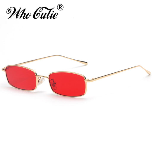 4b437cb8a116 WHO CUTIE 2018 Small Narrow Rectangle Sunglasses Women Men Brand Red Clear  Lens Skinny Slim Wire
