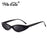 WHO CUTIE Small Oval Sunglasses Women Cat Eye Brand Designer Vintage Retro Skinny Cateye Frame Tiny Sun Glasses Shades 592C