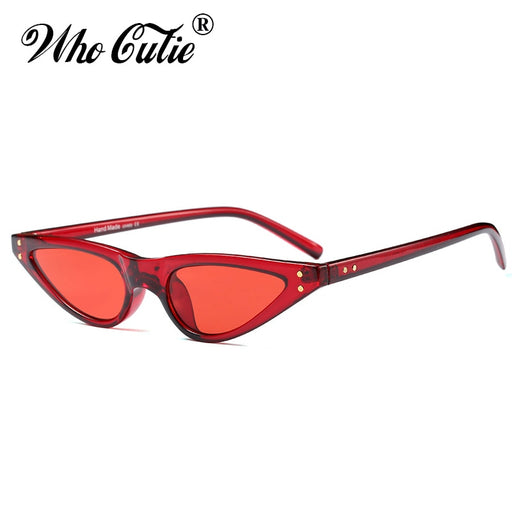 5573bd088ebf WHO CUTIE 2018 Small RED Sunglasses Cat Eye Women Brand Design Cateye Frame  Retro Skinny Triangle