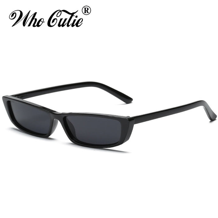 WHO CUTIE Women Vintage Small Rectangle Sunglasses Kendall Jenner Rectangular Frame Black Cat Eye Sun Glasses Oculos 497