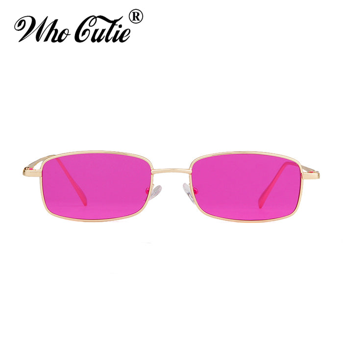 WHO CUTIE 90S Purple Sunglasses Women Men Brand Designer Vintage Retro Small Rectangular Sun Glasses Flat Top Shades OM522B