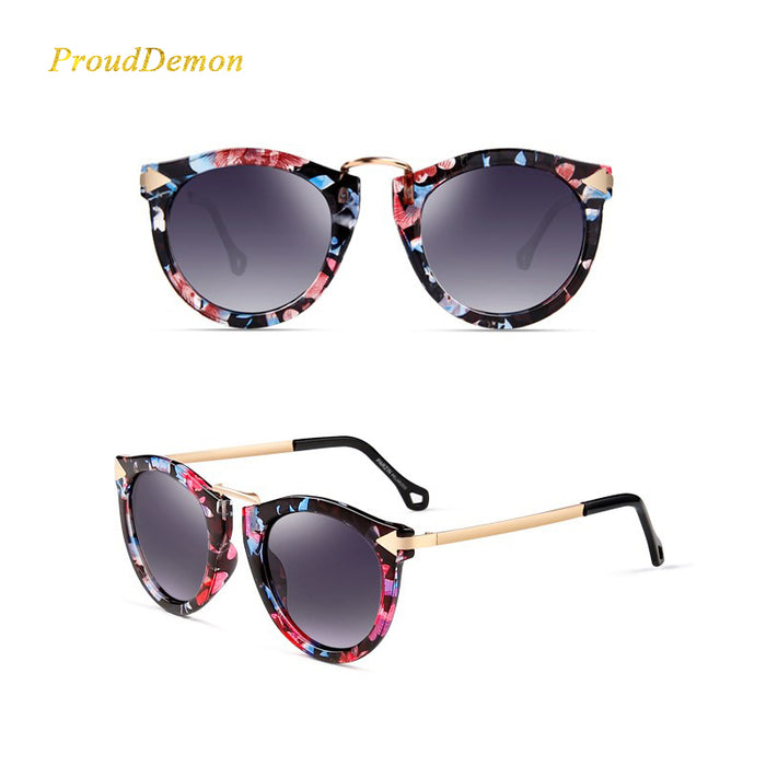 Women Metal Arrow Sunglasses Female Brand Designer Flat Lens Sun Glasses Retro Round Elegant Oculos De Sol Classic Fashion Gafas