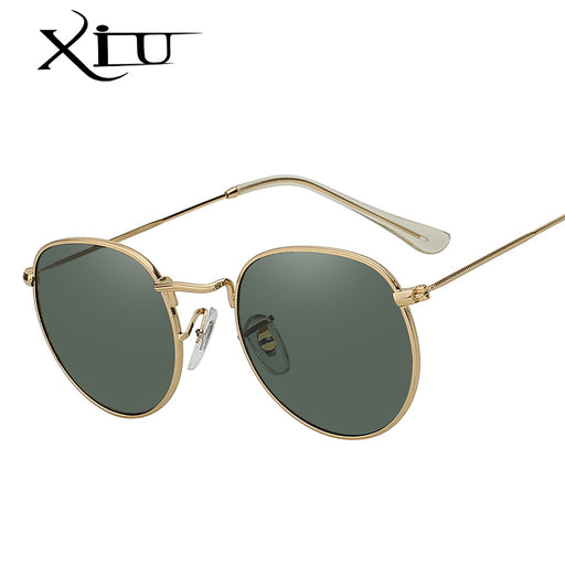 0cd03cbeec XIU Oval Shaed Metal Sunglasses Men Women Brand Designer Mirror Lens Sun  Glasses Retro Vintage Luxury