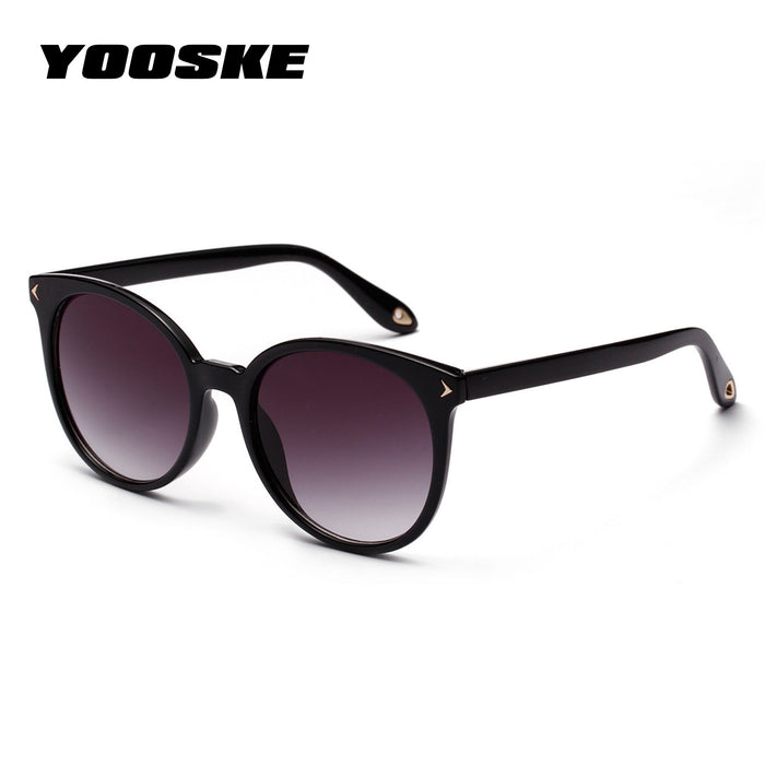 YOOSKE Round Sunglasses Women Elegant Black Clear Coffee Color Sun glasses Ladies Vintage Arrow Design Eyewear Shades UV400