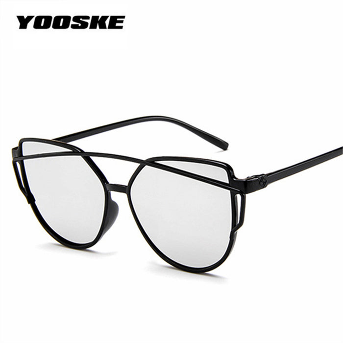 YOOSKE Cat Eye Sunglasses Twin-Beams Women Mirror Reflective Flat Vintage Brand designer Pink Sun Glasses UV400 Eyewear