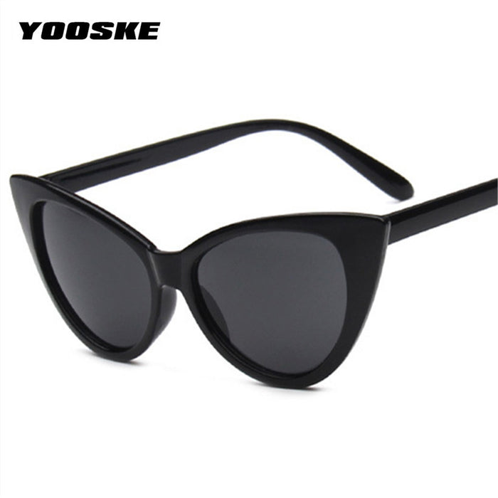 YOOSKE Cat Eye Sunglasses Women Brand Designer Sun Glasses For Ladies Vintage Cateyes Eyewear UV400 Mirror Goggles