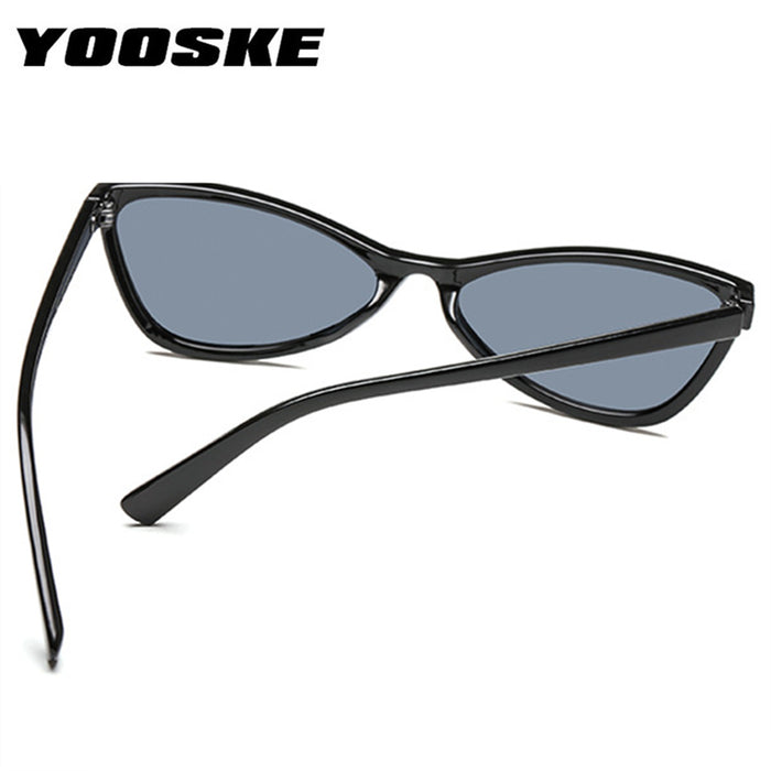 YOOSKE Cute Cat Eye Sunglasses Women Tinted Color Lens Vintage Sun Glasses for Womens Triangle Shaped Eyewear