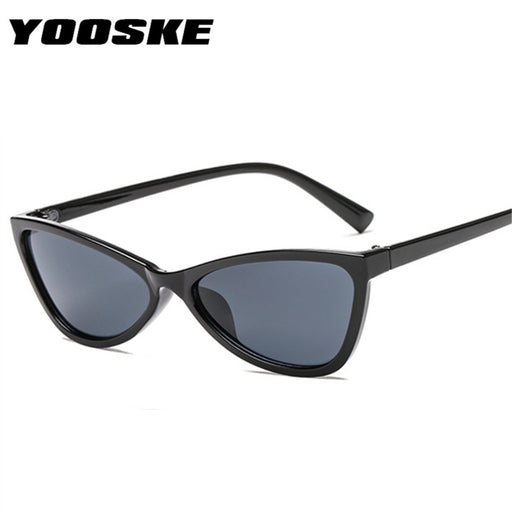 994a78d62d747 YOOSKE Cute Cat Eye Sunglasses 2018 Women Tinted Color Lens Vintage Sun  Glasses for Womens Triangle