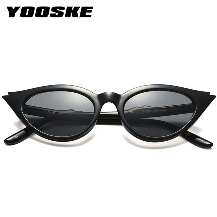 YOOSKE Cute Retro Cat Eye Sunglasses Women Small Triangle Vintage Sun Glasses Female UV400