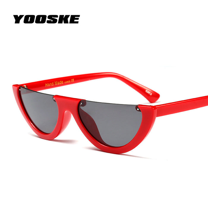 YOOSKE Half Cat Eye Sunglasses Women Small Size Cool Glasses Brand Designer Eyewear Clear FrameSun Glasses UV400 Goggles