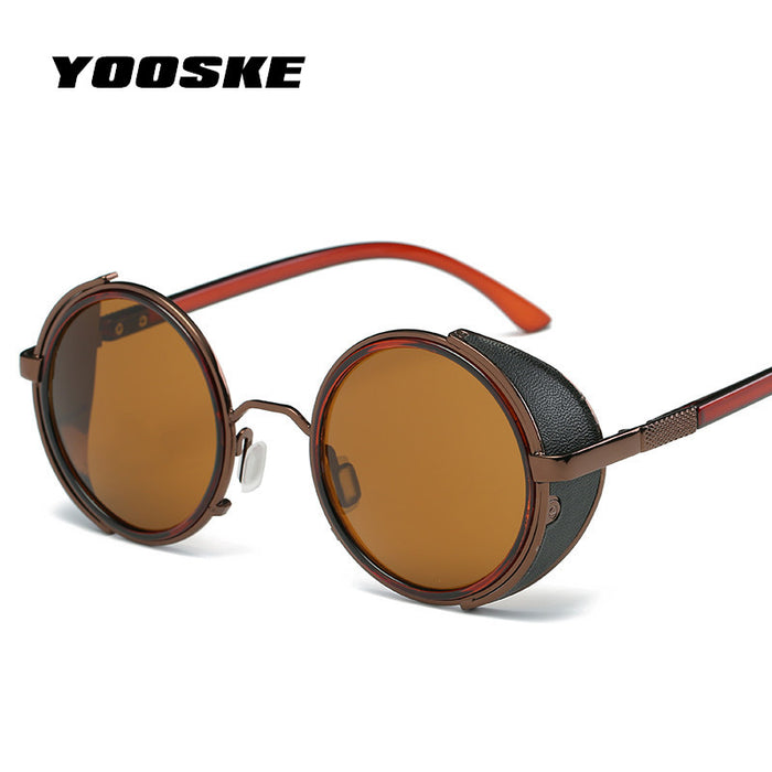 48a634034bd46 YOOSKE New Retro Steampunk Sunglasses Men Women Round Designer Metal Steam  Punk Shields Sunglasses UV400 HD