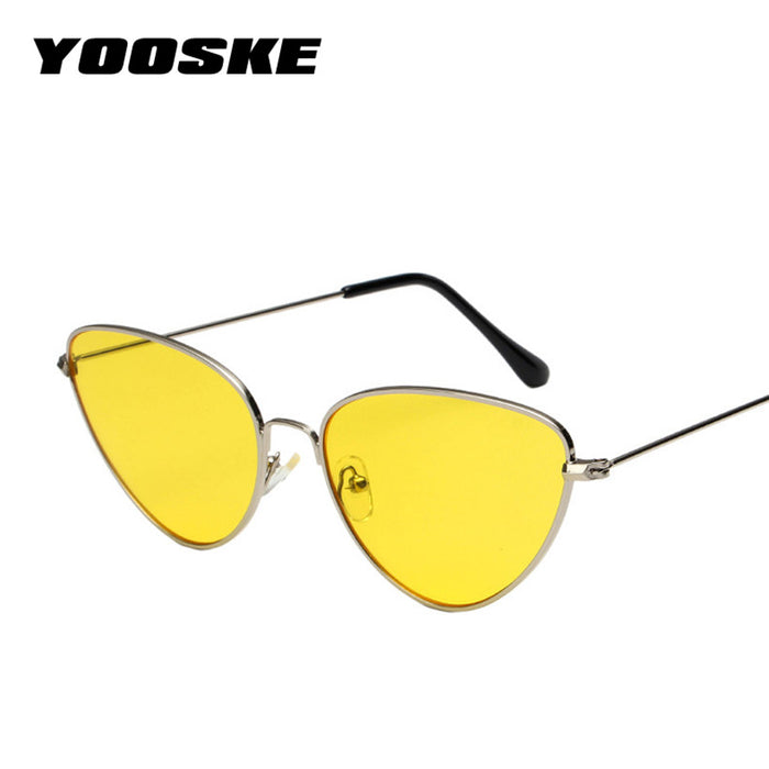 YOOSKE Retro Cat Eye Sunglasses Women Brand Designer Cateye Sun Glasses Female Red Glasses Small Metal Eyewear