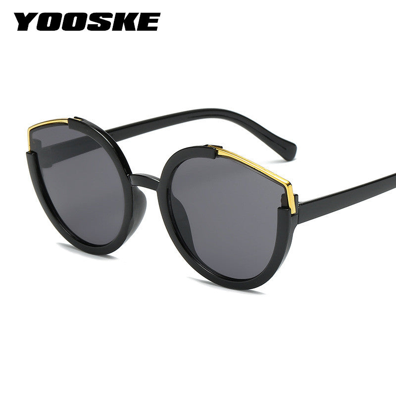 YOOSKE Retro Cat Eye Sunglasses Women Half Frame Vintage Mirror Sun Glasses Men Luxury Brand Design Black Frame