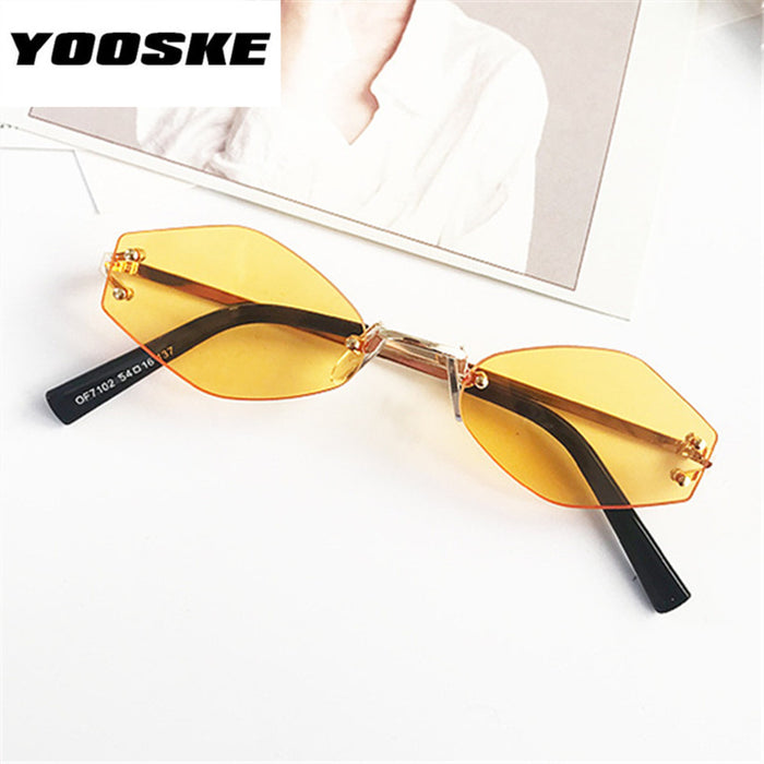 YOOSKE Retro Small Oval Sunglasses Women Rimless Sun Glasses Ladies Irregular Metal Frame Glasses Transparent Color Eyewear