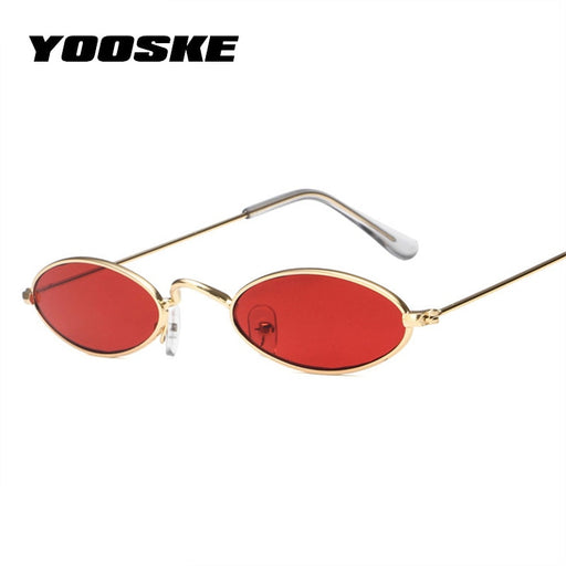 YOOSKE Skinny Oval Sunglasses Women 90s Vintage Small Cat Eye Sun Glassses Men Metal Frame Tiny Small Round Sunglass UV400