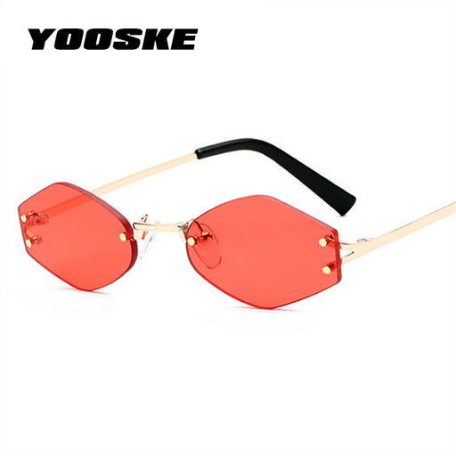 YOOSKE Small Hexagon Sunglasses Women Brand Designer Vintage Cat eye Sun Glasses Retro Rimless Red Black Eyewear Ladies Glasses