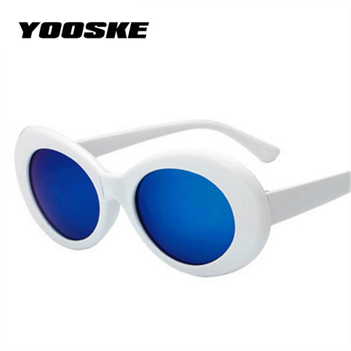 YOOSKE Vintage Round Sunglasses For Women Men Clout Goggles NIRVANA Kurt Cobain Mirrored Glasses Retro Female Male Sun Glasses