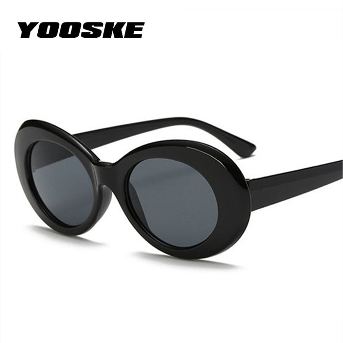 47ca610379 YOOSKE Vintage Round Sunglasses For Women Men Clout Goggles NIRVANA Kurt  Cobain Mirrored Glasses Retro Female