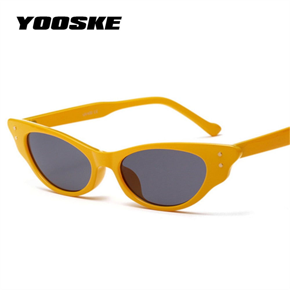 YOOSKE Vintage Small Sunglasses Women Cat Eye Luxury Brand Designer Sun Glasses Retro Yellow Red ladies Sunglass Black Eyewear
