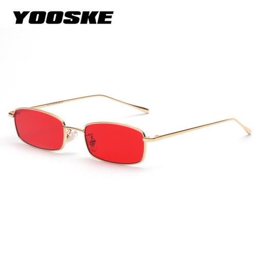 YOOSKE Vintage Sunglasses Men Women Brand Designer Rectangle Metal Sun Glasses Ladies Small Retro Shades Eyewear UV400