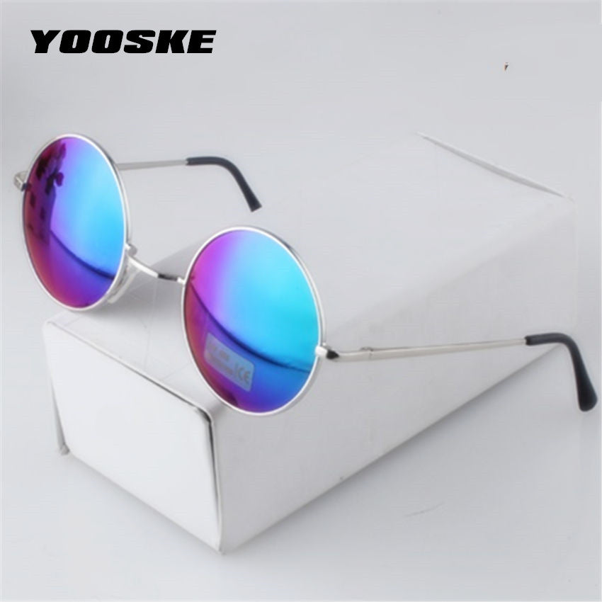 f5a426b2ba64 YOOSKE Women Men Alloy Round Sunglasses Male Female Metal Sun Glasses Gold  Vintage Circle Sunglasses Feminine