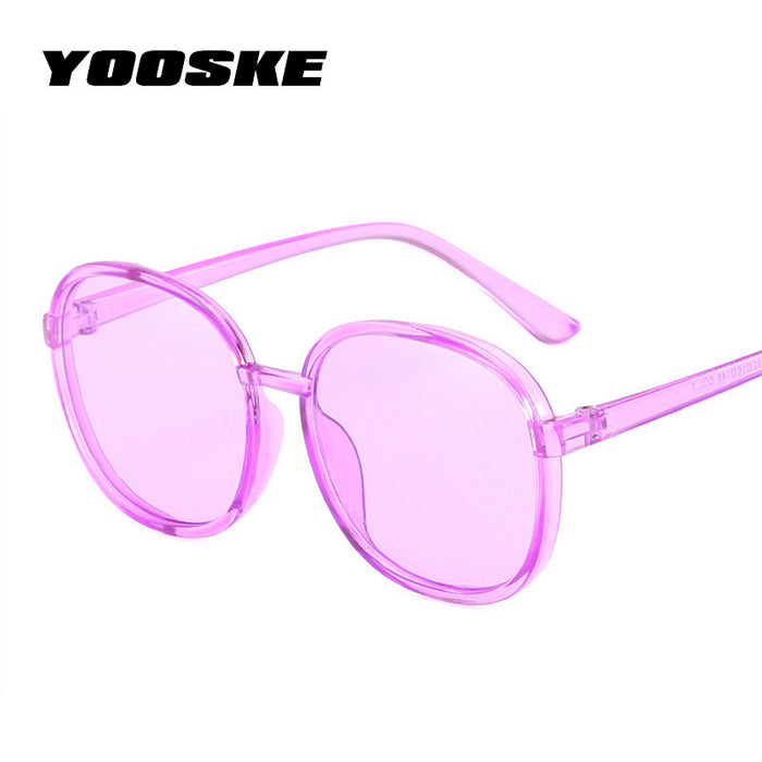 YOOSKE Women Round Sunglasses Vintage Transparent Color Sun Glasses Female Purple Blue Yellow Pink Sunglass for Womens