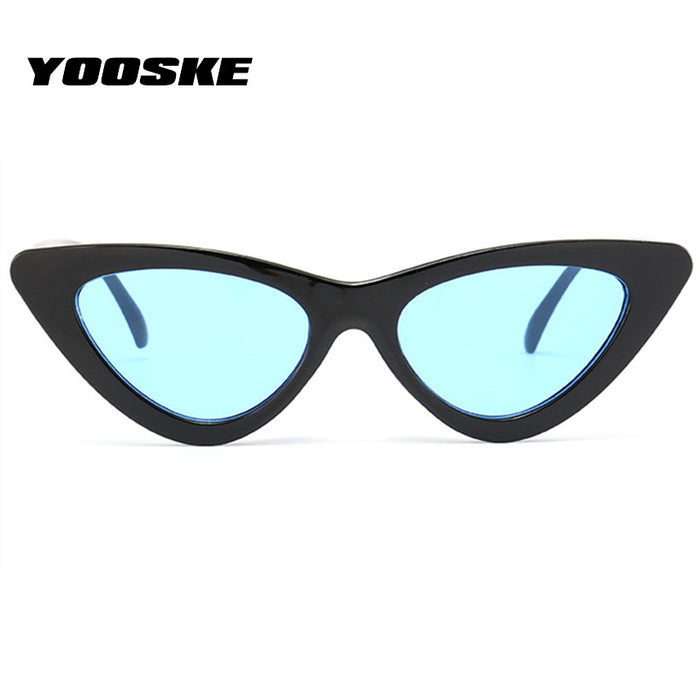 YOOSKE Women Sexy Cat's Eye Sunglasses Triangles Small Dimensions Frame Vintage Brand designer Sun Glasses