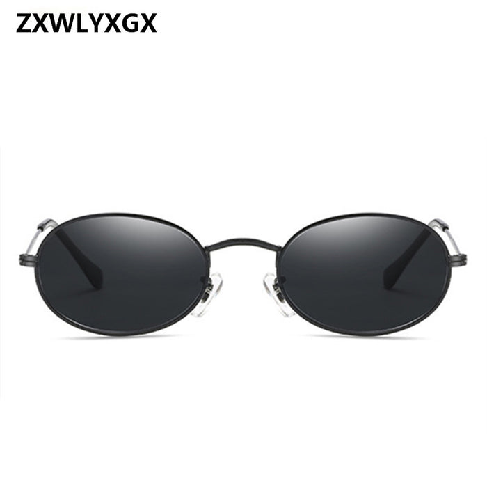 9e2ab008fb ZXWLYXGX 2018 New Luxury Retro Small Metal Frame Steampunk Sunglasses Women  Men Vintage Oval Sun Glasses