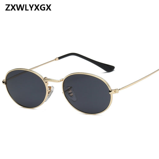 9d42762218cd ZXWLYXGX 2018 New Luxury Retro Small Metal Frame Steampunk Sunglasses Women  Men Vintage Oval Sun Glasses