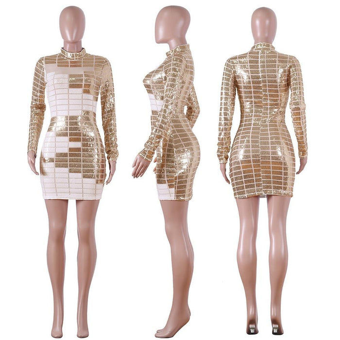 Abasona Autumn Women Winter Long Sleeve Geometric Sexy Bodycon Mini Dress Sheer Mesh Skinny-Home-Abasona Boutique Store-Black-S-EpicWorldStore.com