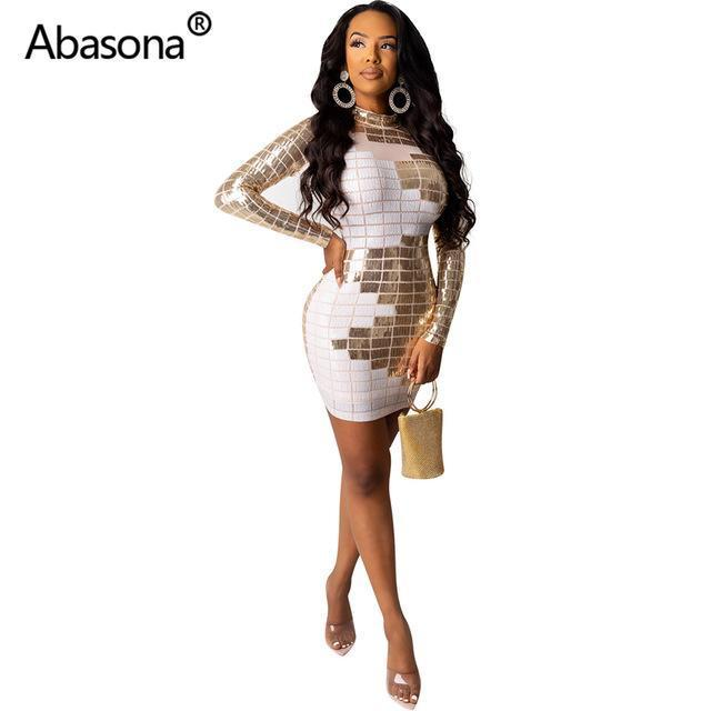 Abasona Autumn Women Winter Long Sleeve Geometric Sexy Bodycon Mini Dress Sheer Mesh Skinny-Home-Abasona Boutique Store-White-S-EpicWorldStore.com
