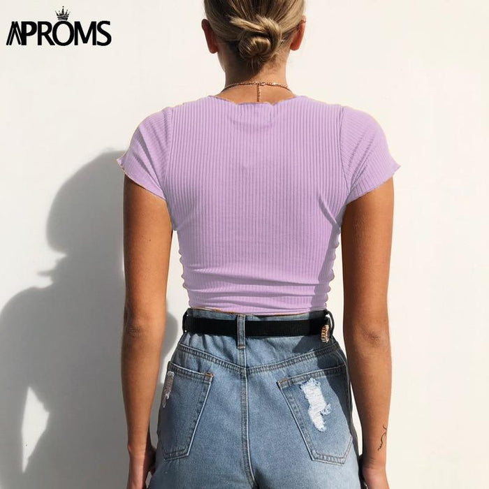 Aproms Sexy V Neck Cropped Tank Tops Women Drawstring Tie Up Front Camis Candy Colors Streetwear-Tank Tops-APROMS Girl Store-Black New-S-EpicWorldStore.com