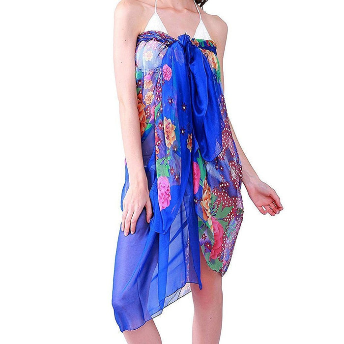 Beach Dress Women Bohemia Chiffon Swimwear Pareo Scarf Beach Cover Up Wrap Kaftan Sarong Bikini-Cover-up-poor baby store Store-A-One Size-EpicWorldStore.com