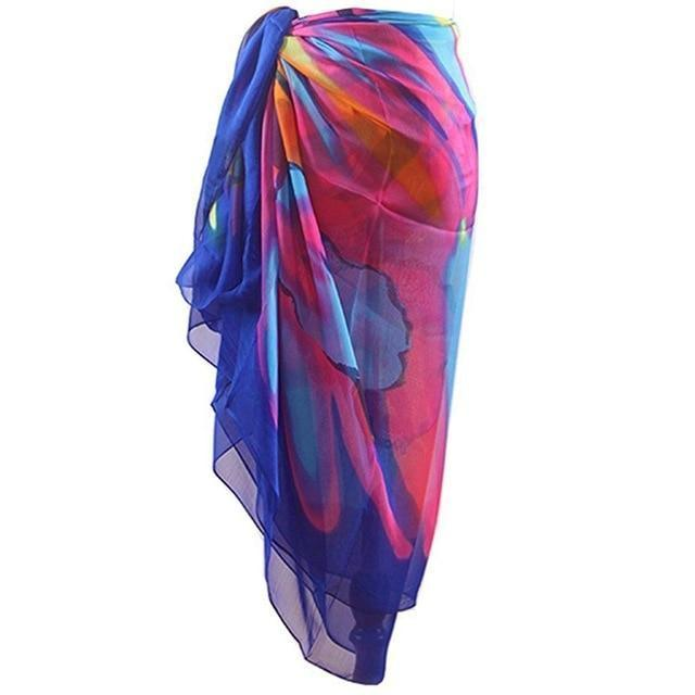 Beach Dress Women Bohemia Chiffon Swimwear Pareo Scarf Beach Cover Up Wrap Kaftan Sarong Bikini-Cover-up-poor baby store Store-B-One Size-EpicWorldStore.com