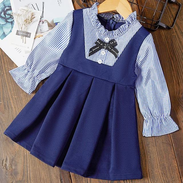 Bear Leader Girls Dress 2020 New Spring Casual Ruffles A Line Striped Full Sleeve Kids Dress For-Dresses-Bear Leader official store-AH001-3T-EpicWorldStore.com