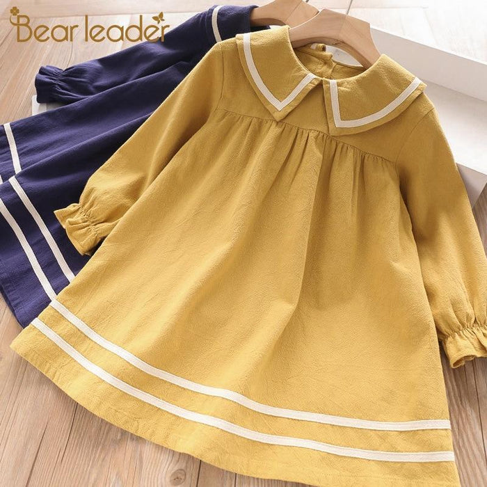 Bear Leader Girls Dress 2020 New Spring Casual Ruffles A Line Striped Full Sleeve Kids Dress For-Dresses-Bear Leader official store-AZ2302-3T-EpicWorldStore.com