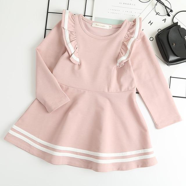 Bear Leader Girls Dress 2020 New Spring Casual Ruffles A Line Striped Full Sleeve Kids Dress For-Dresses-Bear Leader official store-pink az1747-3T-EpicWorldStore.com